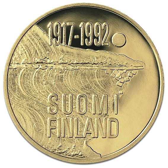 Suomi juhlaraha 1000 markkaa, Itsenäinen Suomi 75 v. kultaraha (1992)