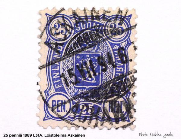 Postimerkki 25 penniä 1889, vaakunamerkki