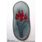 Arabia Heljä Liukko-Sundström soikea laatta 39,5 cm Punaiset tulpaanit (1981)