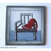 Arabia Heljä Liukko-Sundström seinälaatta 12x12 cm Huivi tuolilla (1981-1983)
