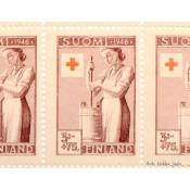 Postimerkki 3,75 mk + 75 p. Punainen Risti L308, 1946