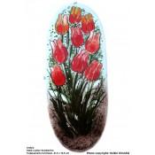 Arabia Heljä Liukko-Sundström soikea laatta 31,5 cm Tulppaaneita tulvillaan (1990-luku)