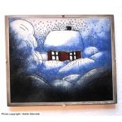 Arabia Heljä Liukko-Sundström seinälaatta 25x20 cm Talvinen talo (1984)