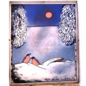 Arabia Heljä Liukko-Sundström seinälaatta 21x25,5 cm Talvi (1990)