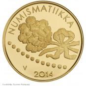 Suomi juhlaraha 100 euroa, Ensimmäinen markka ja numismatiikka, kultaraha (2014)